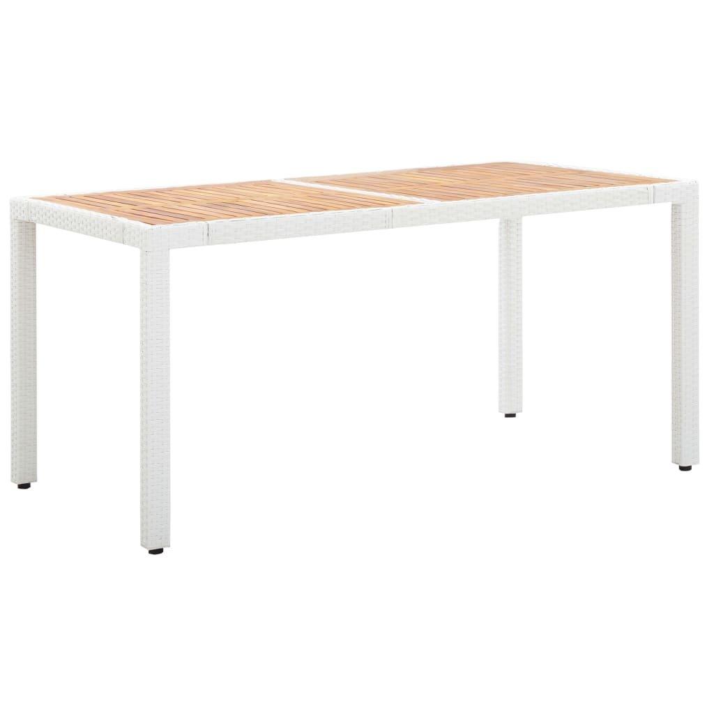 Zahradní stůl Caleyi - polyratan a masivní akácie - bílý   150x90x75 cm