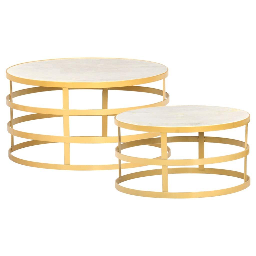 Konferenční stolky - 2dílný set - mramor | mosazný a bílý