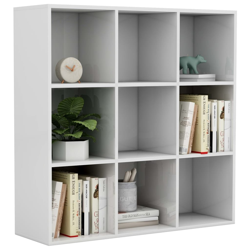 Knihovna Callum - bílá s vysokým leskem | 98x30x98 cm
