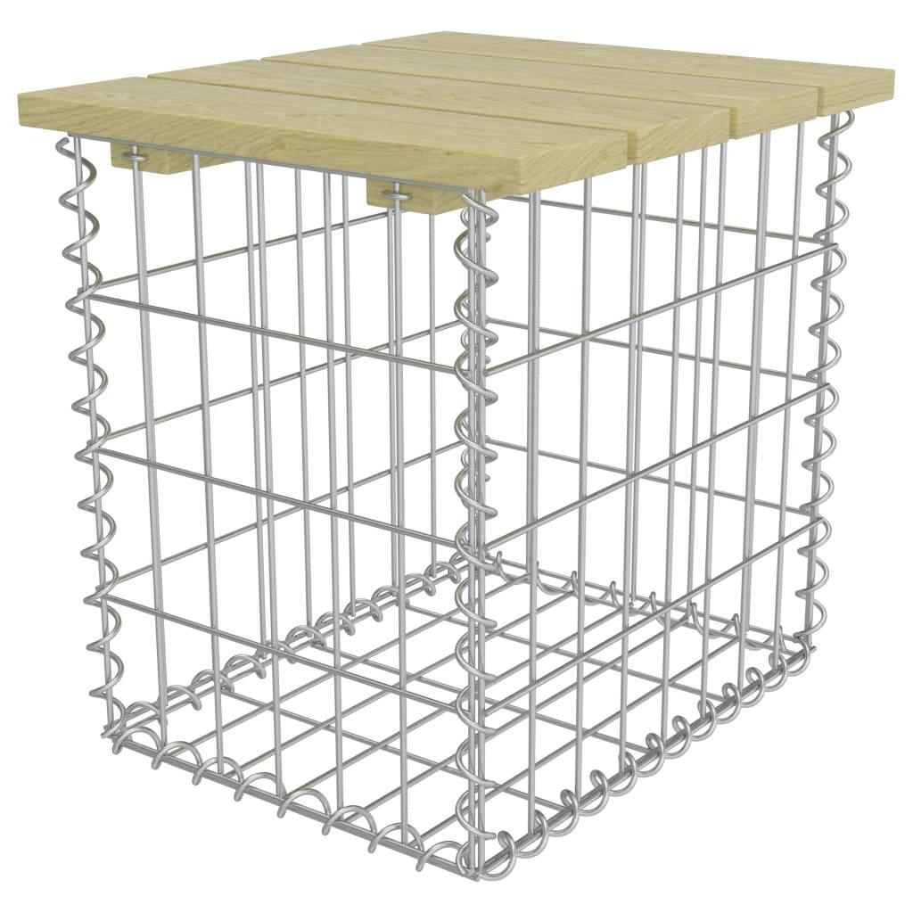 Zahradní stolička - pozinkovaná ocel - borové dřevo | 40x40x45 cm