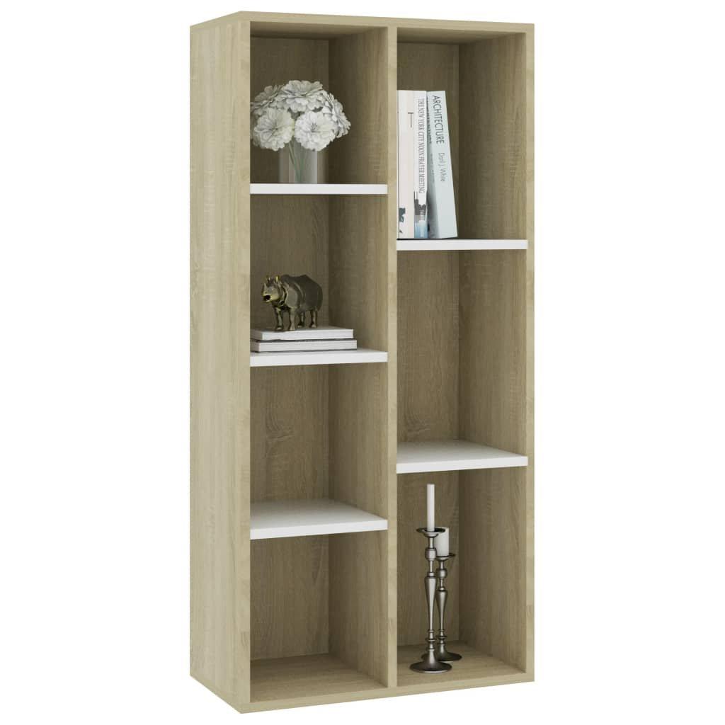 Knihovna Niviro - bílá a dub sonoma | 50x25x106 cm