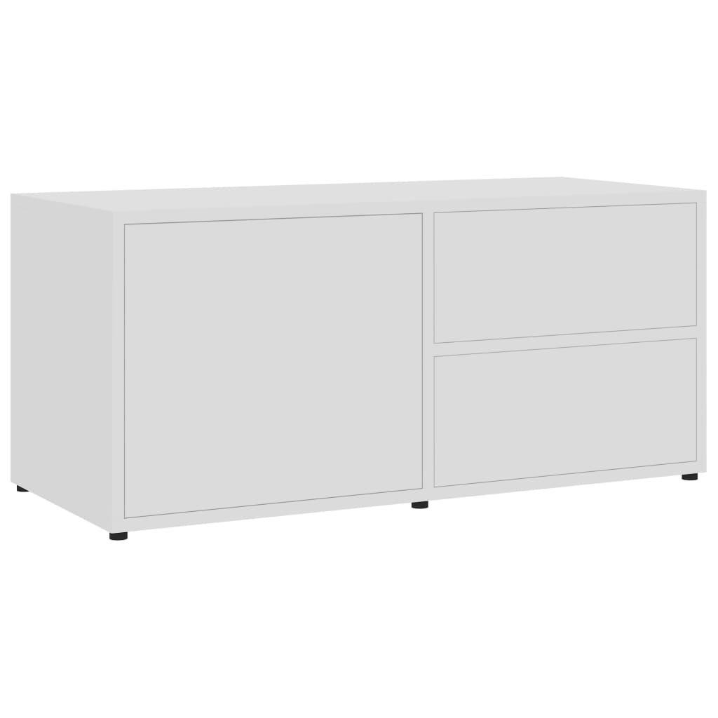 TV stolek Lewisham - dřevotříska - 80 x 34 x 36 cm   bílý s leskem