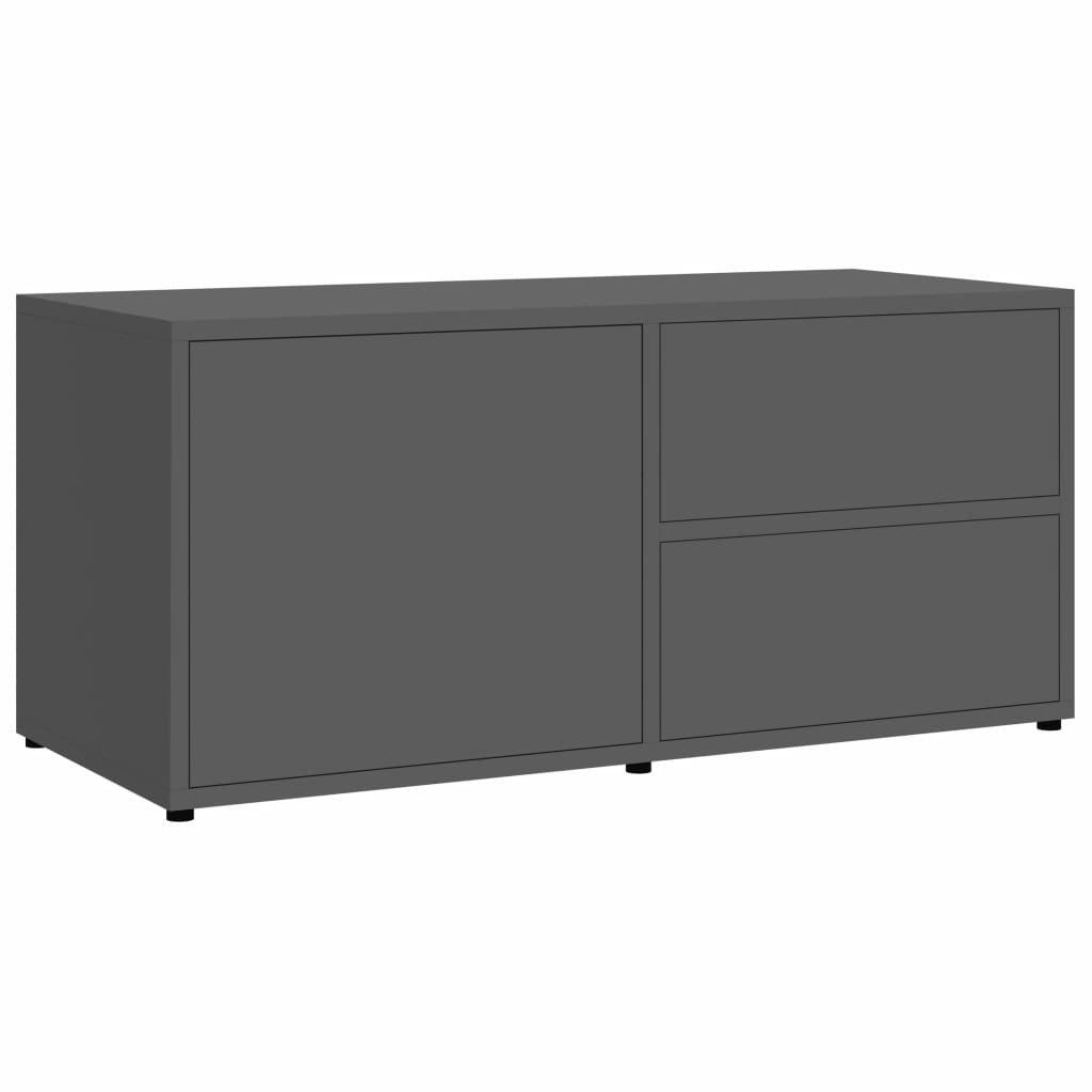 TV stolek Lewisham - dřevotříska - 80 x 34 x 36 cm | šedý s leskem