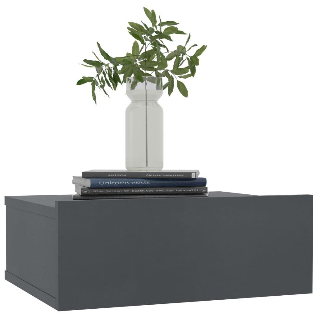 Nástěnný noční stolek Miracle - šedý | 40x30x15 cm