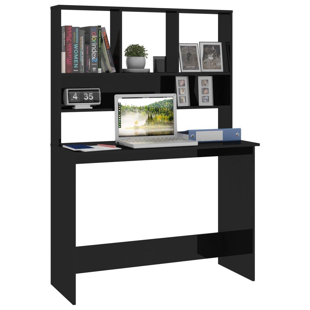 Psací stůl Bonard a police - černý vysoký lesk | 110x45x157 cm