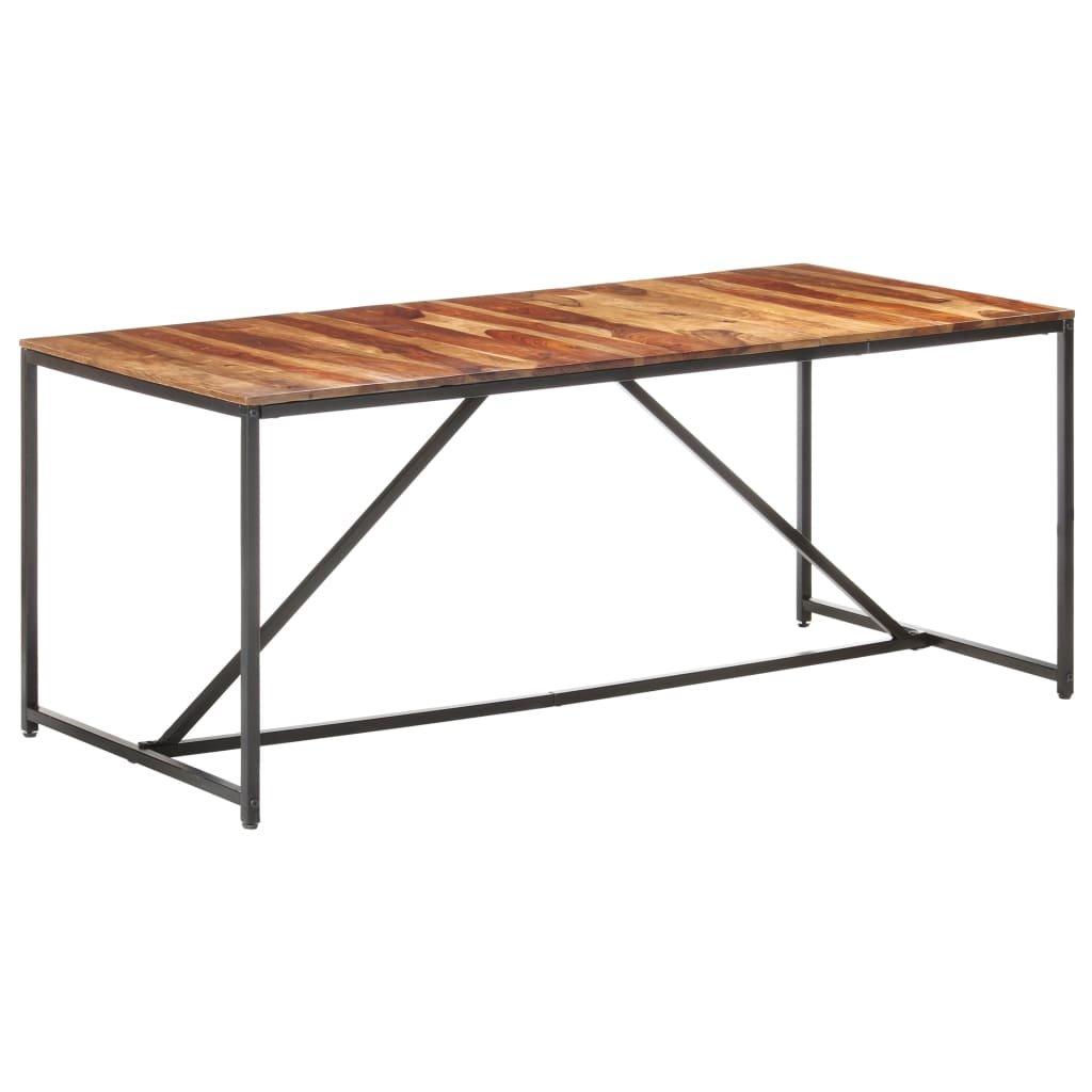 Jídelní stůl Lumber - masivní sheeshamové dřevo - černý   180 x 90 x 76 cm