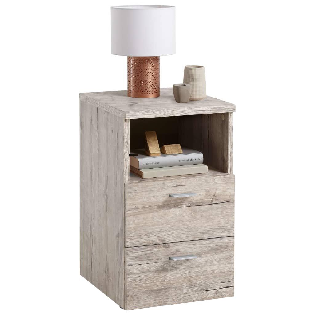 Noční stolek Gymea se 2 zásuvkami a otevřenou poličkou | pískový dub