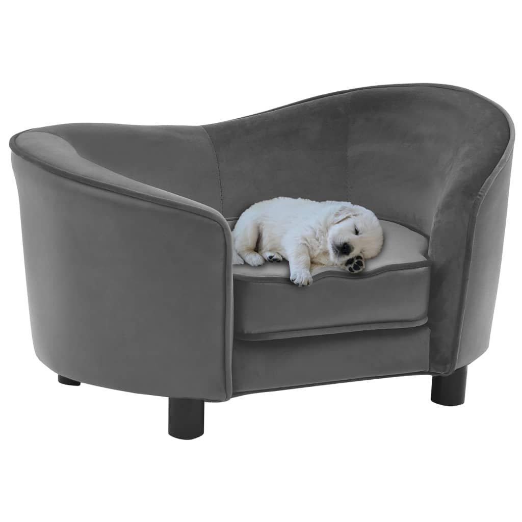 Pohovka pro psy - plyš a umělá kůže - šedá | 69x49x40 cm