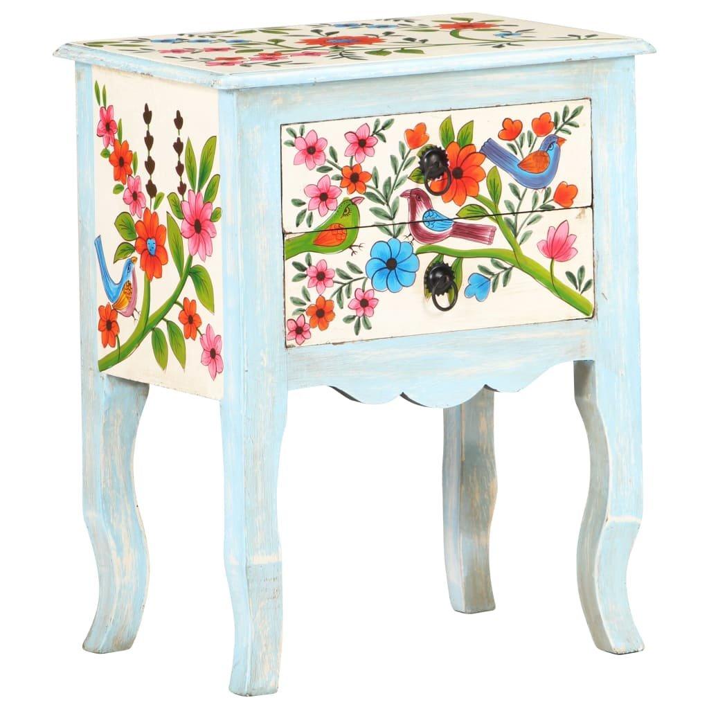 Ručně malovaný noční stolek Leyden - 40x30x50 cm   masivní mangovník
