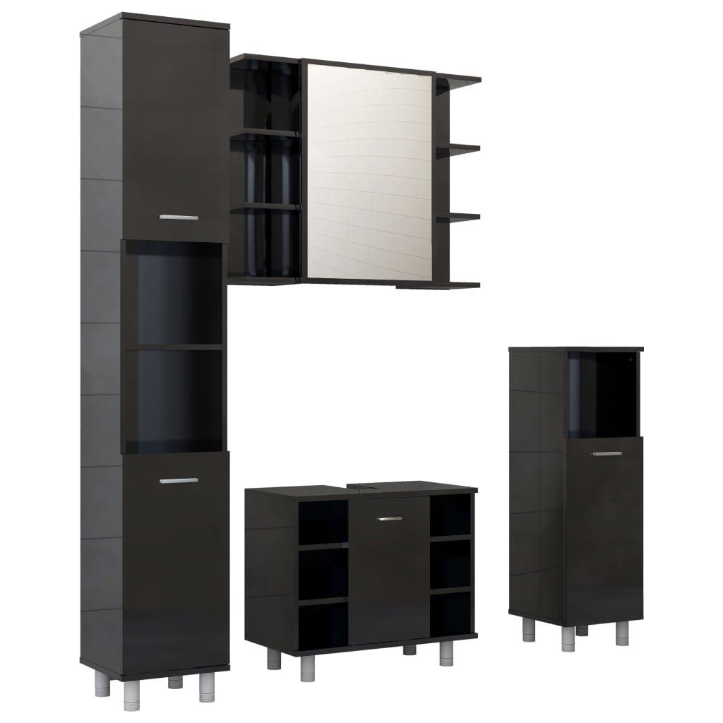 4dílný set koupelnového nábytku II - se zrcadlovou skříňkou - dřevotříska   černý s vysokým leskem