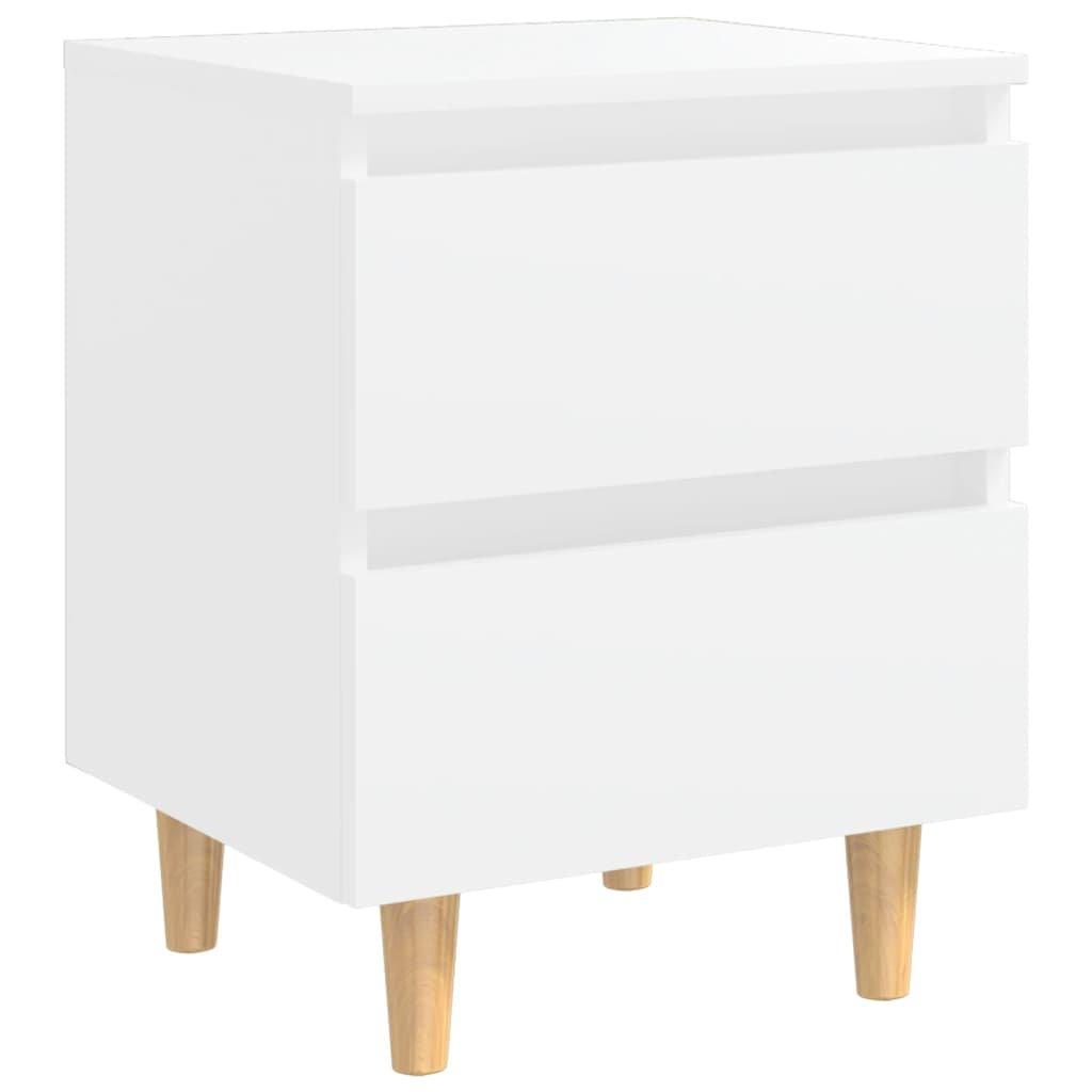 Noční stolek Gorgon s nohami z masivní borovice - 40x35x50 cm | bílý