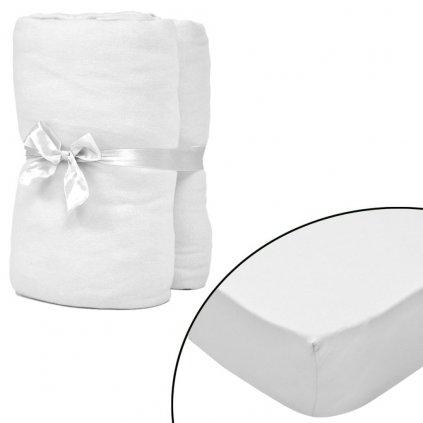 2 ks - bílá elastická prostěradla | 180–200x200cm