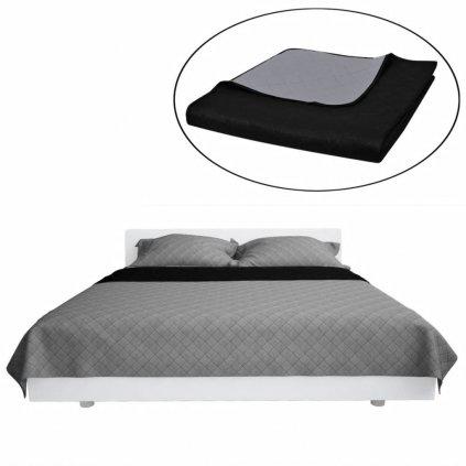 Oboustranný prošívaný přehoz na postel - černo-šedý | 170x210 cm