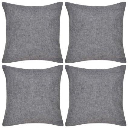4 antracitové povlaky na polštářky se vzhledem lnu | 80x80 cm
