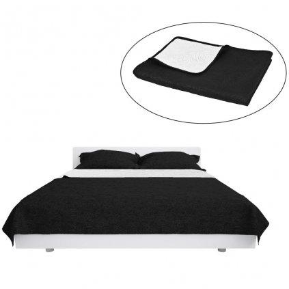 Oboustranný prošívaný přehoz na postel - černo-bílý | 170x210 cm