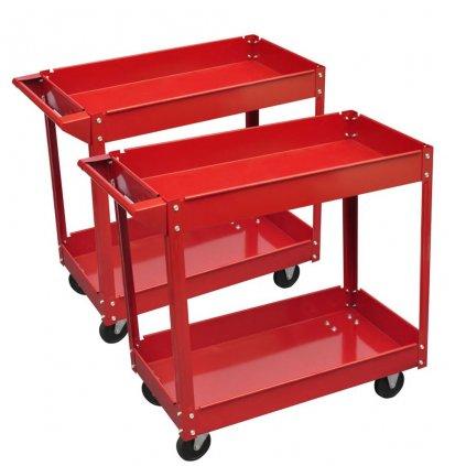 2 x Dílenský vozík se 2 policemi a 4 kolečky - 100 kg | červený