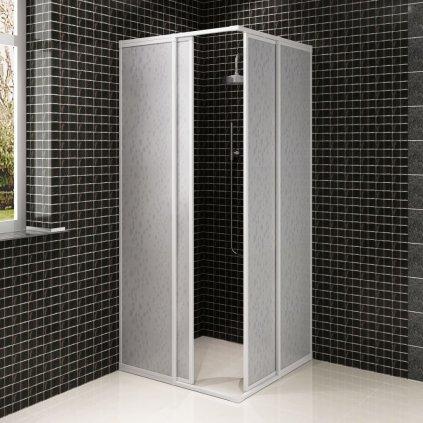 Hliníkový sprchový kout s PP panely - obdélníkový   80x90 cm