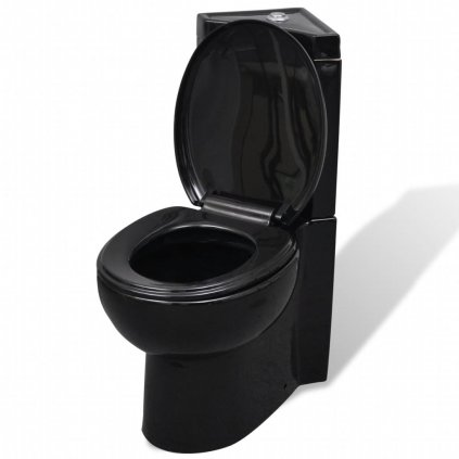 Černa keramická kulatá toaleta WC
