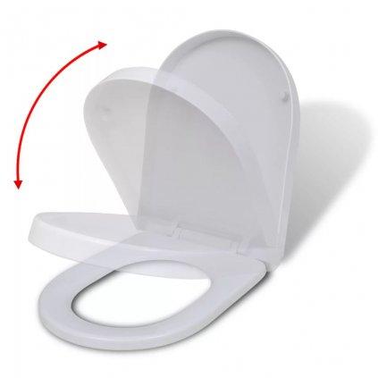Bílé toaletní sedátko s pomalým sklápěním | hranaté