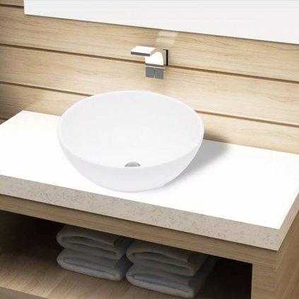Keramické koupelnové umyvadlo - kulaté | bílé