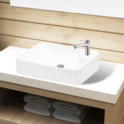Keramické koupelnové umyvadlo s otvorem na baterii | bílé