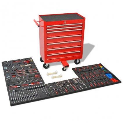 Dílenský vozík na nářadí s 1125 nástroji - ocelový | červený