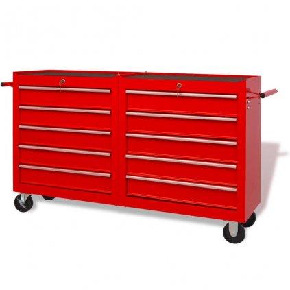 Dílenský vozík na nářadí s 10 zásuvkami ocelový | červený