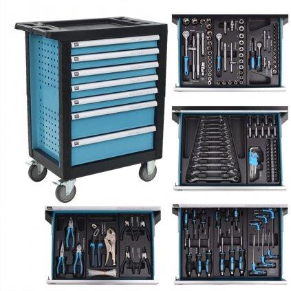 Dílenský vozík na nářadí s 270 nástroji - ocelový | modrý