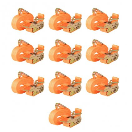 Ráčnové upínací pásy, 10 ks, 0,4 tun, 6mx25mm, oranžové