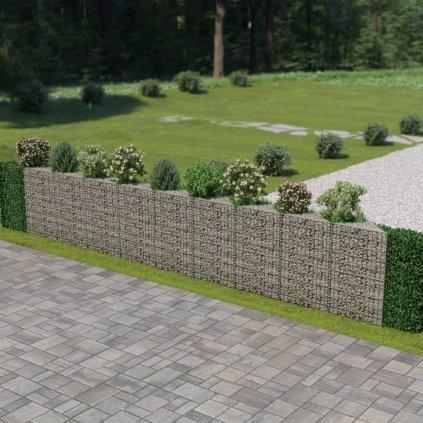 Gabionová zeď z pozinkované oceli | 630x30x100 cm