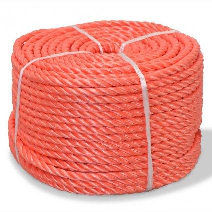 Kroucené lano z polypropylenu 10 mm 250 m oranžové