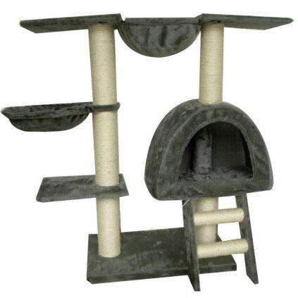 Kočičí škrabadlo/strom s 1 pelíškem - šedé | 105 cm