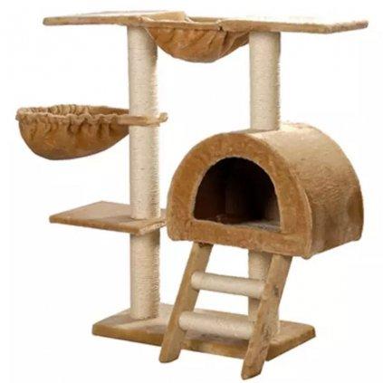 Kočičí škrabadlo/strom s 1 pelíškem - béžové | 105 cm
