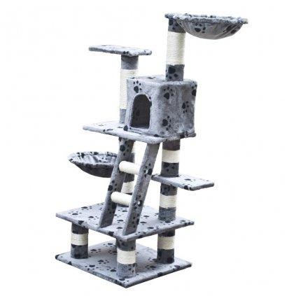 Kočičí škrabadlo/strom s 1 pelíškem - šedé s otisky tlapek | 122 cm