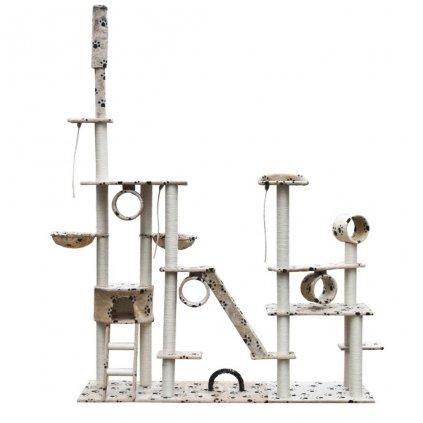 Deluxe kočičí škrabadlo/strom - béžové s otisky tlapek | 230-260 cm