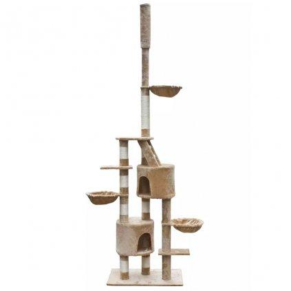 Kočičí škrabadlo/strom - béžový plyš | 230-260 cm