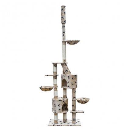 Kočičí škrabadlo/strom - béžový s otisky tlapek | 230-260 cm