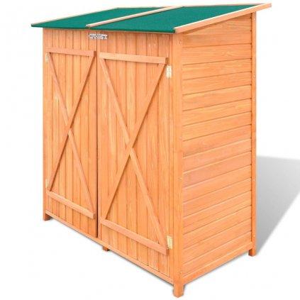 Dřevěná zahradní kůlna na nářadí s velkým úložným prostorem