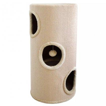 Béžový domek/škrabadlo pro kočky | 70 cm