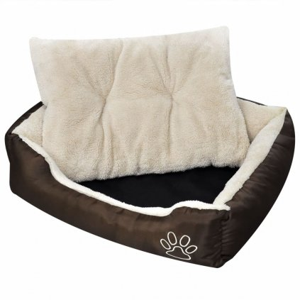 Komfortní pelíšek s polstrovaným polštářem - béžový | L