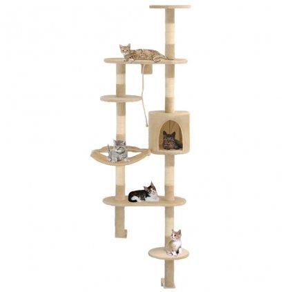 Nástěnné škrabadlo pro kočky se sisalovými sloupky - béžové   194 cm