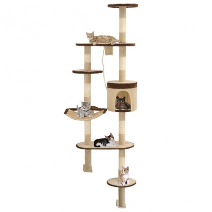 Nástěnné škrabadlo pro kočky - sisalové sloupky - béžovohnědé | 194 cm