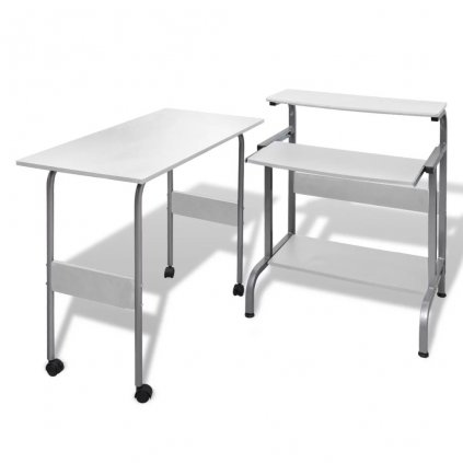 Počítačový stůl + nastavitelný pracovní stůl | bílý