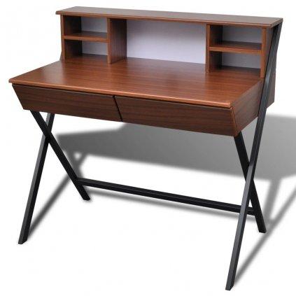 Psací stůl / PC stůl se 2 zásuvkami | hnědý