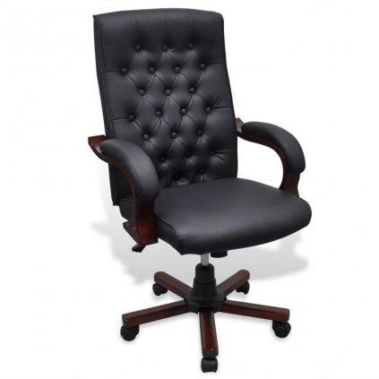 Chesterfield kancelářská židle - umělá kůže | černá