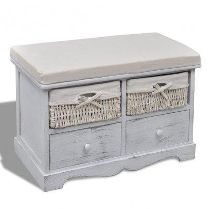 Bílá dřevěná úložná lavice - 2 košíky - 2 zásuvky - s polštářem nahoře