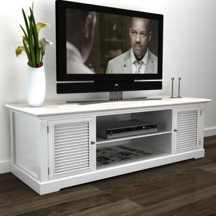 Dřevěný TV stolek Albert | bílý