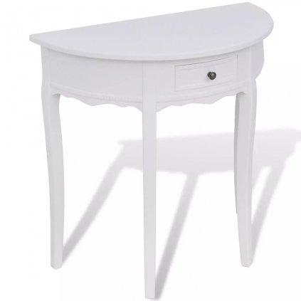 Bílý půlkruhový konzolový stolek se zásuvkou