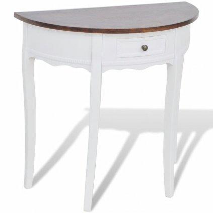 Bílý půlkruhový konzolový stolek se zásuvkou a hnědou deskou