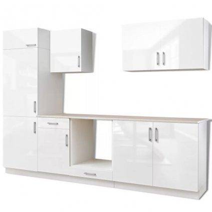 Kuchyňská linka pro vestavnou lednici - 7dílná - 270 cm | bílá - vysoký lesk